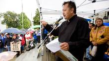 Art Napoleon, former chief of the West Moberly First Nation and an award-winning actor and musician, emcees a protest against the proposed Peace River Site C Dam, at B.C. Legislature in Victoria. (GEOFF HOWE/Geoff Howe for The Globe and Mail)