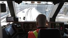 Engineer operating the Union Pearson Express train as it approaches Terminal 1 at Pearson Airport on Monday. (Patrick Dell/The Globe and Mail)