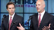 Canada Basketball held a press conference at the Air Canada Centre in Toronto on August 23, 2012 to announce Jay Triano, right, as the new head coach for the men's basketball team. The new GM for the men's basketball team, Steve Nash, left, was on hand for the announcement, as was Wayne Parrish, the Pres. and CEO of Canada Basketball. (Peter Power/The Globe and Mail)