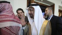 Saudi's Oil Minister Khalid al-Falih leaves after the opening ceremony of the Atlantic Council Global Energy Forum in Abu Dhabi, United Arab Emirates, Thursday, Jan. 12, 2017. OPEC Secretary-General Mohammad Sanusi Barkindo said at the forum Thursday that he remains 'confident' that the cartel and outside members will stick to an agreement to cut production to help boost oil prices. (Kamran Jebreili/AP)