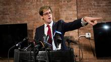 Milo Yiannopoulos announces his resignation from Brietbart News during a press conference on February 21, 2017 in New York City. (Drew Angerer/Getty Images)