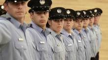 Recruits practice drills during a course at the Ecole nationale de police du Quebec in Nicolet, Queb., Sept. 14, 2010. (Christinne Muschi For The Globe and Mail)