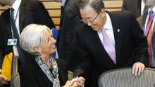 United Nations Secretary General Ban Ki-moon, right, shakes hands with International Monetary Fund (IMF) Managing Director Christine Lagarde during a meeting on sustainable development, Friday, April 20, 2012, at the IMF and World Bank Group Spring Meetings in Washington. (Charles Dharapak/AP)