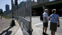 Some portions of the G20 security fence in Toronto are already complete, such as this portion along Rees Street and Lake Shore Boulevard. (Peter Power/The Globe and Mail)