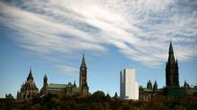 A view of the West Block's north tower, under wraps, on Parliament Hill, Oct. 4. (Dave Chan for The Globe and Mail)