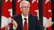 Stephane Dion announces his resignation as leader of the Liberal Party at an Ottawa news conference Oct. 20, 2008. (CHRIS WATTIE/Chris Wattie/Reuters)