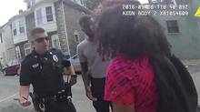 In this Sunday, Sept. 18, 2016, video frame grab from a body camera released by the Hagerstown (Md.) police, an officer speaks with a 15-year-old girl. (AP)