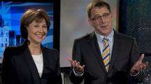 BC Liberal Leader Christy Clark and NDP Leader Adrian Dix pose for a pre-debate photo in Vancouver, April 29, 2013. (JONATHAN HAYWARD/THE CANADIAN PRESS)