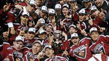 Members of the Vancouver Giants celebrate their victory in the Memorial Cup on May 27, 2007. Owners of the Giants are in talks to relocate the team to the Township of Langley. (ANDY CLARK/REUTERS)
