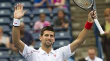 Novak Djokovic of Serbia reacts to the crowed after defeating Sam Querrey of the United States 6-4, 6-4 during 2012 Rogers Cup tennis action in Toronto on Friday, August 10, 2012. (CP)