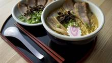Santouka's ramen, built up from a pork bone broth that's enriched with dried seafood and vegetables (I'm guessing, anyway; the recipe is closely guarded), is a masterpiece of balance and flavour. (Kevin Van Paassen/The Globe and Mail)