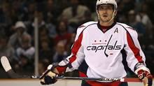 Alex Ovechkin #8 of the Washington Capitals looks on against the San Jose Sharks during an NHL game at the HP Pavilion on December 30, 2009 in San Jose, California. (Photo by Jed Jacobsohn/Getty Images) (Jed Jacobsohn/2009 Getty Images)