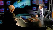 Peter Mansbridge interviews Prime Minister Stephen Harper in 2008. (CBC)