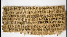 A previously unknown scrap of ancient papyrus written in ancient Egyptian Coptic is pictured in this undated handout photo obtained by Reuters September 18, 2012. The papyrus has four words written in Coptic that provide the first unequivocal evidence that within 150 years of his death, some followers of Jesus, believed him to have been married. (HANDOUT/REUTERS)