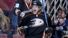 Anaheim Ducks left wing Bobby Ryan celebrates his goal during the first period of an NHL hockey game against the Chicago Blackhawks, Friday, Nov. 25, 2011, in Anaheim, Calif. (GUS RUELAS/Assocaited Press)