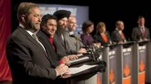 NDP federal leadership candidate Thomas Mulcair, left, responds to a question during an NDP leadership debate in Halifax Sunday January 29, 2012. To Mulcair's left are fellow candidates Romeo Saganash, Martin Singh, Nathan Cullen, Niki Ashton, Peggy Nash, Brian Topp and Paul Dewar. This was the second of six travelling debates before a new party leader is chosen on March 24 at a party convention in Toronto. (TIM KROCHAK/THE CANADIAN PRESS/TIM KROCHAK/THE CANADIAN PRESS)
