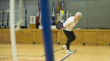 Meryll Powell plays pickleball in Ajax, Ont. She is planning a move to British Columbia to be closer to her daughter and grandchildren. (Chris Young/The Globe and Mail)