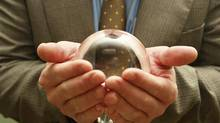 File #: 2671185 Exclusive iStockphoto Photographer Executive Crystal Gazing Business and predicting the future. Credit: Tom Young / iStockphoto (Royalty-Free) Keywords: Crystal Ball, The Future, Futuristic, Business, Fortune Telling, The Way Forward, Opportunity (Tom Young/iStockphoto)