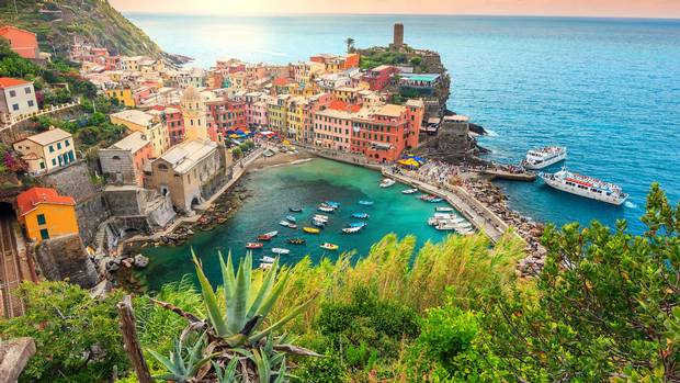 A view of Vernazza and the suspended garden.