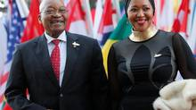 South African President Jacob Zuma and his wife, Gloria Bongekile Ngema, attend the Group of 20 summit in Hamburg, Germany, on Friday. A British agency is facing criticism for designing a racially charged campaign on behalf of Mr. Zuma. (WOLFGANG RATTAY/REUTERS)