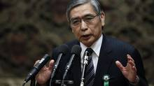 Action is likely to come at the BOJ's next meeting on April 3-4, when Asian Development Bank President Haruhiko Kuroda, a vocal advocate of aggressive easing, is expected to have taken over as governor. Seen here, Kuroda delivers a speech at a hearings session at the lower house of the parliament in Tokyo March 4, 2013. (ISSEI KATO/REUTERS)
