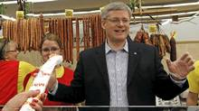 Conservative leader and Canada's Prime Minister Stephen Harper reacts while working behind the counter at a deli during a campaign stop in Brampton, Ontario March 27, 2011. Canadians will head to the polls in a federal election May 2. (Chris Wattie/Reuters/Chris Wattie/Reuters)
