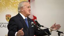 Former Prime Minister Brian Mulroney delivers the 2016 William A. Howard Memorial Lecture at the University of Calgary on Tuesday, Sept. 13, 2016. (Larry MacDougal/THE CANADIAN PRESS)