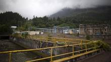 The site of the Woodfibre LNG project, a proposed small-scale liquefied natural gas (LNG) processing and export facility, with a salmon bearing stream on the left in Squamish, British Columbia, Wednesday, July 23, 2014. (Rafal Gerszak For The Globe and Mail)