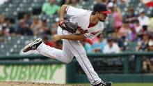 Ryan Merritt of the Cleveland Indians pitches against the Minnesota Twins in the ninth inning at Progressive Field on August 4, 2016 in Cleveland, Ohio. (David Maxwell/Getty Images)