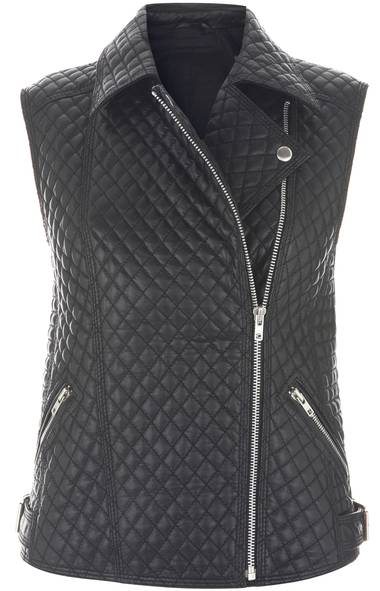 Quilted pleather vest by Topshop,$150 at The Bay (www.thebay.com). (Handout)