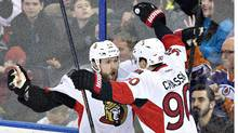 Ottawa Senators' Alex Chiasson (90) celebrates his goal against the Edmonton Oilers with teammate Zack Smith (15) during third period NHL action in Edmonton, Alta., on Tuesday February 23, 2016. (JASON FRANSON/THE CANADIAN PRESS)
