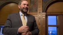 NDP leader Tom Mulcair is pictured in his office on Jan. 29, 2013. Mr. Mulcair is tabling a private member's bill this week to grant Canada's federal budget watchdog more power and to protect it from political influence. (Adrian Wyld/The Canadian Press)