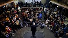 Democratic presidential candidate Bernie Sanders speaks at a campaign event in Fort Dodge, Iowa, on Tuesday. (JIM YOUNG/REUTERS)