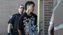 Thunder Bay, Ontario: Adam Capay is brought into the Ontario Court of Justice on June 6, 2012. (Jeff Labine/tbnewswatch.com)