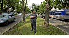 "Randy Crowell stands on a meridan near a tree with a yellow ribbion, tied in support of Canadian soldiers on 97 St. in Edmonton, on June 27, 2011. Mr. Crowell wants to rename the street ""Heroes Blvd."" (Jason Franson for the Globe and Mail/Jason Franson for the Globe and Mail)"