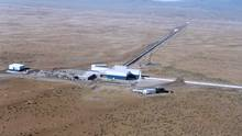 LIGO Hanford Observatory, in southeastern Washington. team members are keeping mum, but with senior scientists flying in to appear at a news briefing in Washington, no one is expecting a negative result. (LIGO Scientific Collaboration)