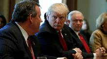 From left, New Jersey Governor Chris Christie, U.S. President Donald Trump and Attorney General Jeff Sessions attend an opioid and drug abuse listening session at the White House in Washington on March 29, 2017. (JONATHAN ERNST/REUTERS)