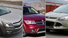 2013 Chevrolet Equinox (L), 2013 Dodge Journey and 2013 Ford Escape (GM/FCA/Ford)