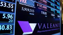 A board shows the name of Valeant Pharmaceuticals above the floor of the New York Stock Exchange shortly after the opening of the markets in New York Oct. 22. (Lucas Jackson/Reuters)