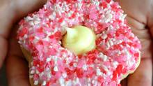 100 per cent of the sales from Tim Hortons Alberta Rose donut will go to support Red Cross flood relief efforts (Hand-out/TIM HORTONS)