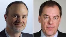 La Presse editor-in-chief André Pratte, left, and Globe and Mail columnist John Ibbitson