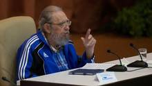 "Cuban former president Fidel Castro speaks in Havana on April 19, 2016. In death, Mr. Castro remained Latin America's most polarizing figure. He was mourned in some quarters here as ""the greatest Latin American,"" condemned in others as a dictator. (ISMAEL FRANCISCO/AFP/Getty Images)"
