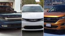 (L-R) 2017 Ford Flex, 2017 Chrysler Pacifica and 2015 Ford Edge (Ford/FCA)