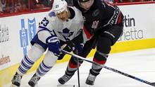 Shawn Matthias, left, was one of eight pending unrestricted free agents the Maple Leafs were trying to move by the trade deadline. (Karl B DeBlaker/AP Photo)