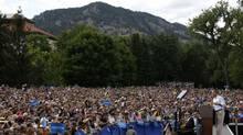 U.S. President Barack Obama speaks at a campaign event at the University of Colorado-Boulder, Sept. 2, 2012. (LARRY DOWNING/REUTERS)