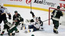 Vladimir Tarasenko of the St. Louis Blues celebrates the game winning goal by teammate Joel Edmundson as Mikael Granlund, Jared Spurgeon and Mikko Koivu of the Minnesota Wild look on after Game One of the Western Conference First Round during the 2017 NHL Stanley Cup Playoffs at Xcel Energy Center on April 12, 2017 in St. Paul, Minnesota. (Hannah Foslien/Getty Images)