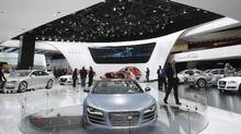 The Audi R8 GT is displayed on the floor at the North American International Auto Show in Detroit, Tuesday, Jan. 10, 2012. (Carlos Osorio/AP/Carlos Osorio/AP)