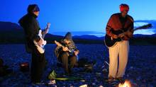 A sunset jam by Shad (right) and the Besnard Lakes in Nahanni National Park, NWT.