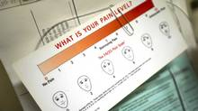 A card outlining patient pain levels is seen in the assessment centre at Sunnybrook Health Sciences Centre in Toronto, Ontario Monday, November 4, 2013. (Kevin Van Paassen/The Globe and Mail)