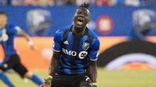 Montreal Impact captain Dominic Oduro is urging fans to come out for the first leg he reacts after missing a shot on goal during first half MLS soccer action against the LA Galaxy in Montreal, Saturday, May 28, 2016. (Graham Hughes/THE CANADIAN PRESS)